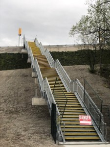 Image shows steps into the park.