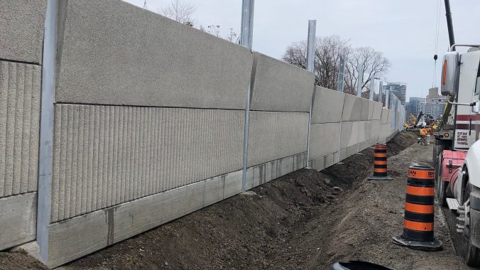 Noise walls being installed along the Barrie GO Line