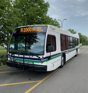Image shows a bus on the street.