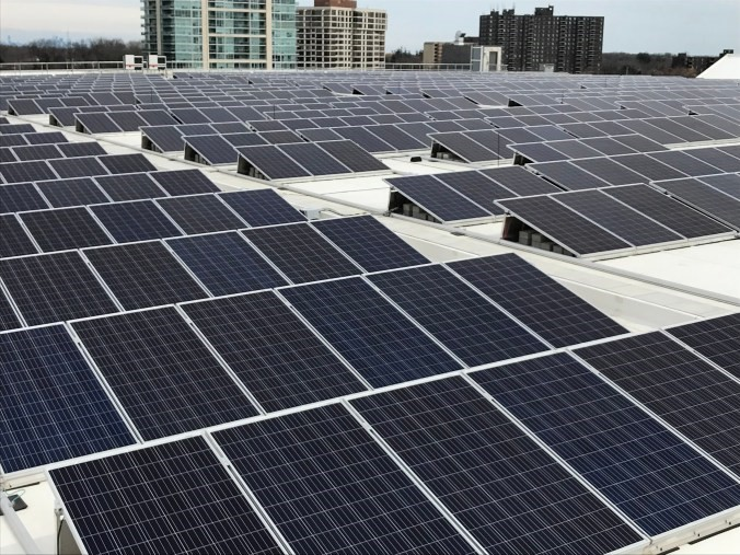 Close up of solar panels on a GO station roof