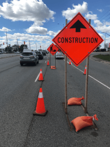 Image shows a construction sign