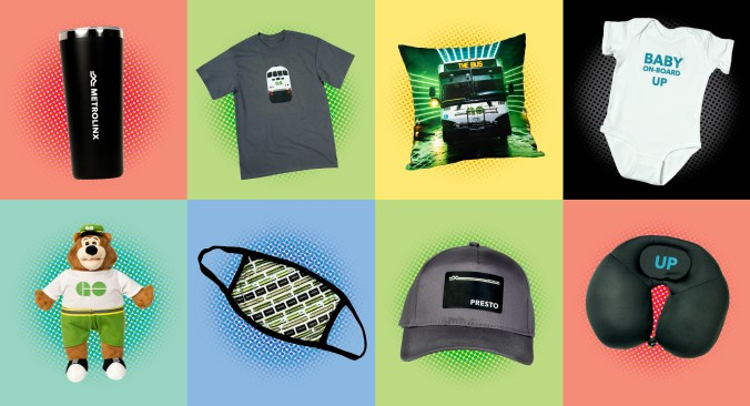 An image showing various products available on the Metrolinx Online Store like coffee mugs, plush toys and shirts