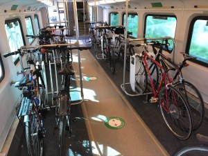 Image shows bikes on a train.