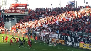Image shows a game at BMO field prior to COVID
