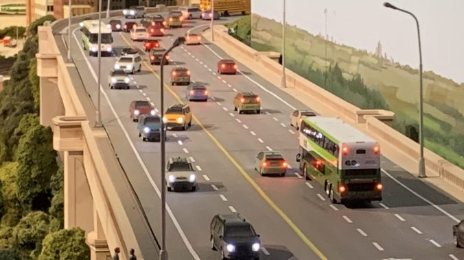 photo of the Don Valley Parkway model with traffic at Little Canada