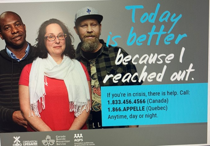 Image shows a poster with numbers for those who need help.