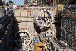 Images shows Crosstown boring machines