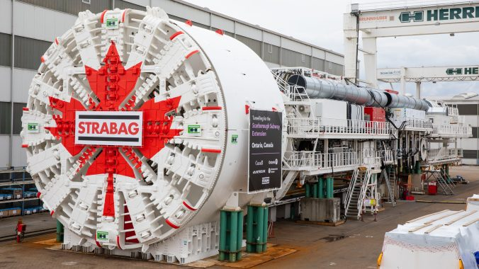 The tunnel boring machine for the Scarborough Subway Extension during factory testing in Germany last week.