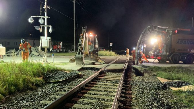 Crews perform rail crossing maintenance in the Guelph area