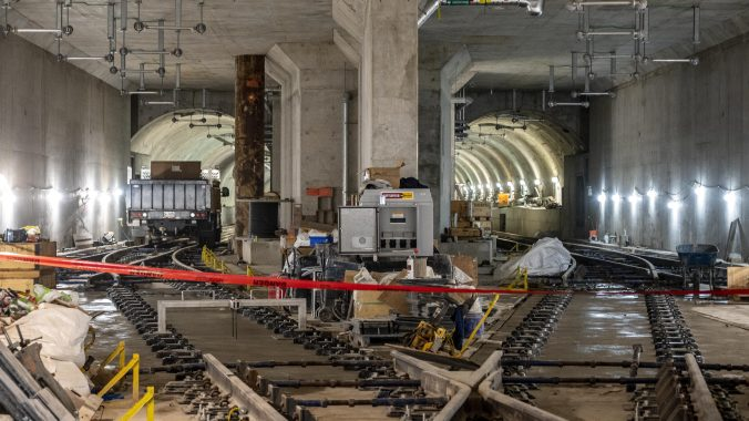 Image shows tracks being worked on.