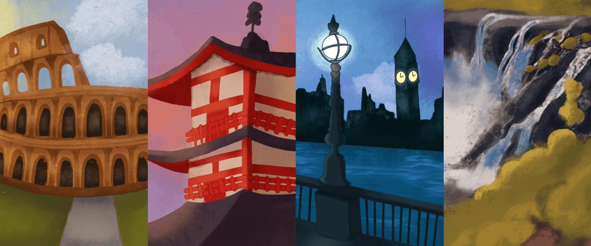 Ilustração de capa: montagem com as ilustrações de Itália, Japão, Grã-Bretanha e Angola