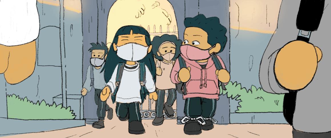 crianças chegando na escola usando máscaras faciais