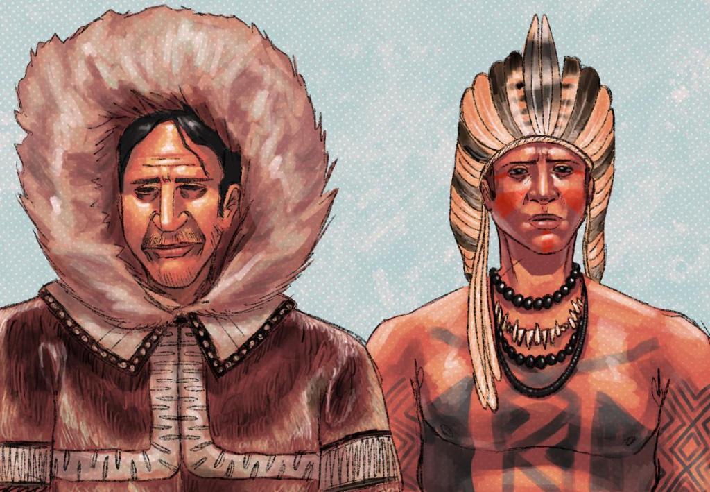 Ilustração de um siberiano e um nativo americano lado a lado