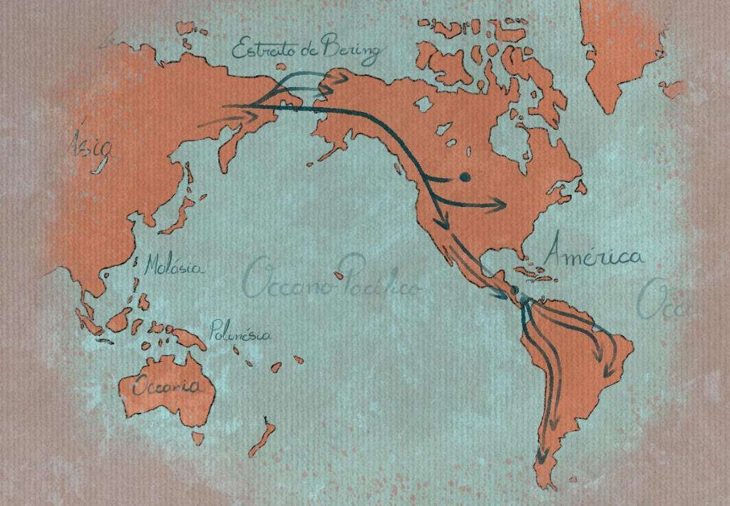 mapa com rota de migração pelo Estreito de Bering
