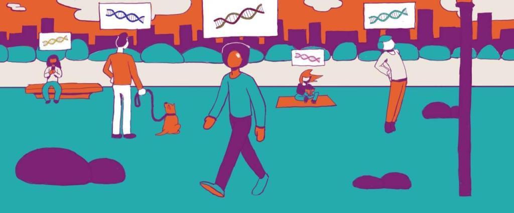 ilustração de várias pessoas ao ar livre com um DNA acima da cabeça de cada um representando os dados genéticos