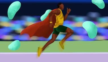 um corredor de atletismo com capa de super homem