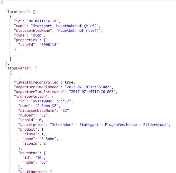 Screenshot of JSON data