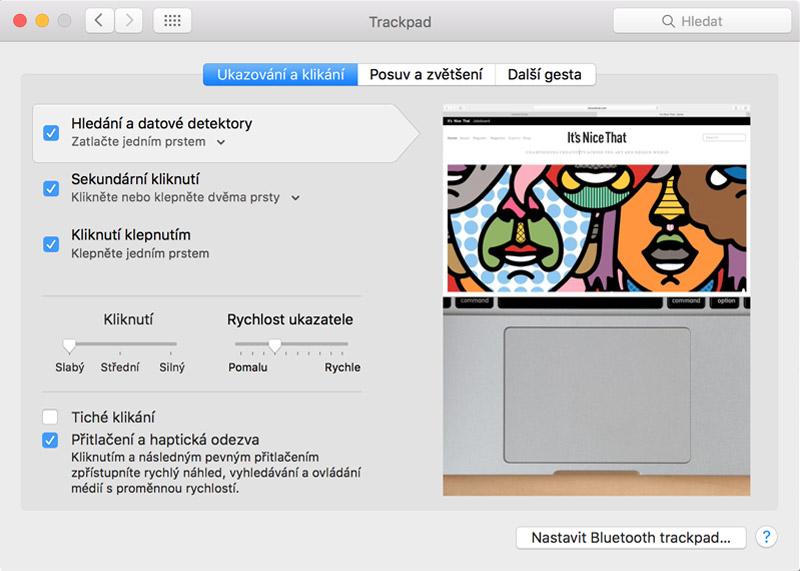 MacBook Pro Retina - Možnosti nastavení trackpadu