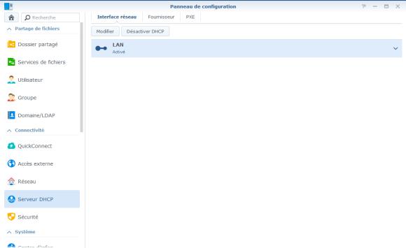 Section Serveur DHCP du Panneau de configuration
