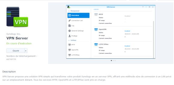 VPN Server dans le Centre de paquets Synology