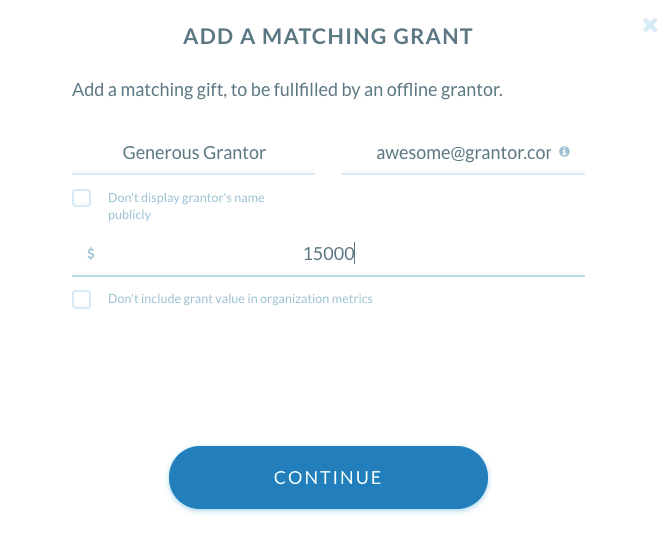 matching grant tool in action