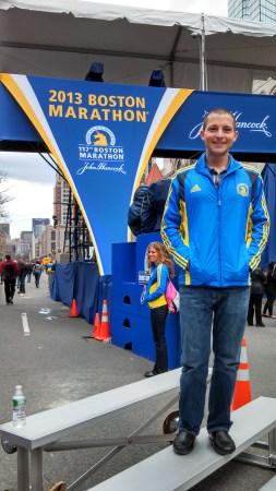 boston marathon finish mike