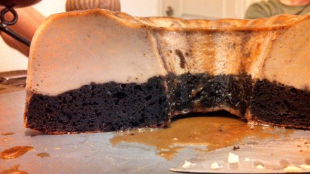 magic chocolate flan cake cross section