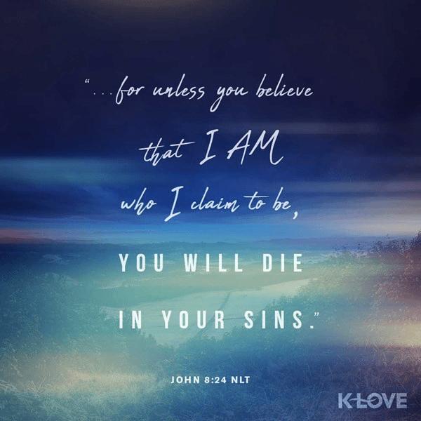 John 8:24 (NLT)