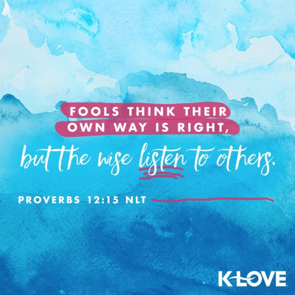 Proverbs 12:15 (NLT)