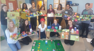 Spanish AP students, kneeling down from left: Annabel Botsford, Grace Finnegan, Trinidad Lopes, Madeline Gray, Julia Francesconi. Standing from right: Rebeca Noris, Raquel Gallagher, Kiana Barret, Amanda Tam, Ashley Peña, Kaylyn Pean, Indhira Bonhomme, Allison Dicarlo.