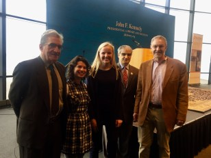 Nina Zimmermann with former US Poet Laureate Robert Pinsky (far left) and (far right) host Bill Littlefield from NPR as well as representatives from Mass Poetry and the JFK Library Foundation.