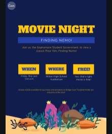 Join the sophomore class for Finding Nemo this Friday!