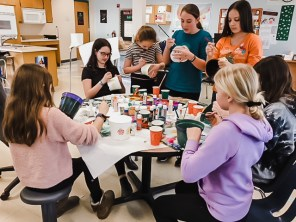 This week, students painted pots that will be planted with the ivy in the coming weeks.