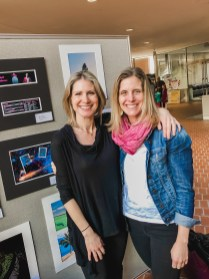 Art teachers Jess Gillooly and Laurel Bernini attend the opening.
