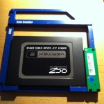 The SSD mounted on the bracket, ready to be installed on the Mac