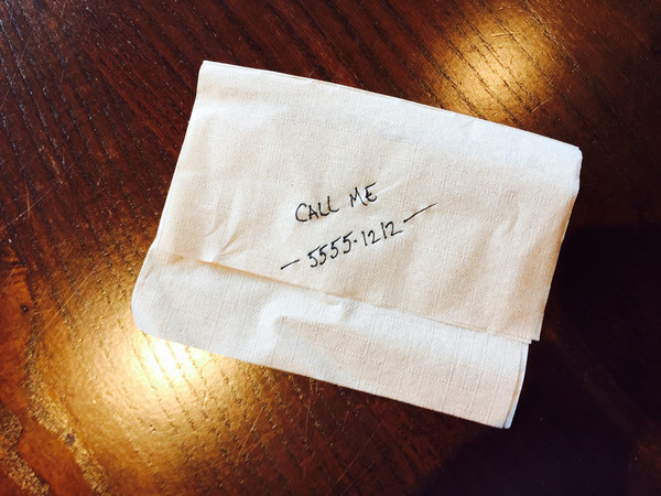 Call Me! Phone Number on Napkin