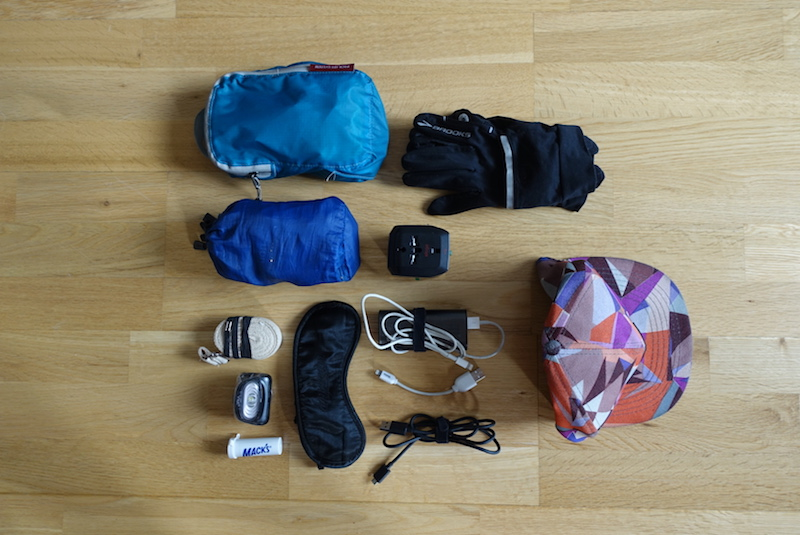 Travel gear for sleeping packed in the top stash pockets