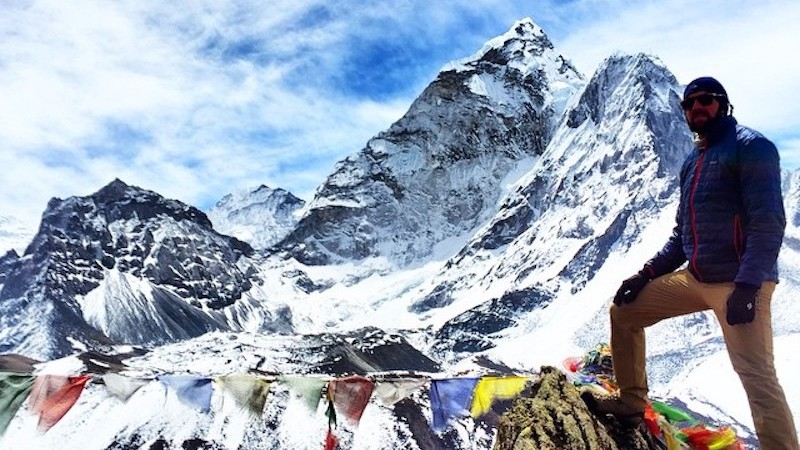 Digital nomad clint johnston at everest base camp