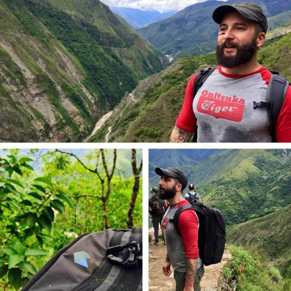 David Gritl hiking above the Peruvian jungle with his Carry-on 1.0 hiking backpack