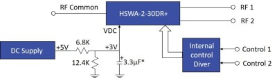 Biasing of HSWA2-30DR+ SPDT Switch with a 5V Supply Voltage