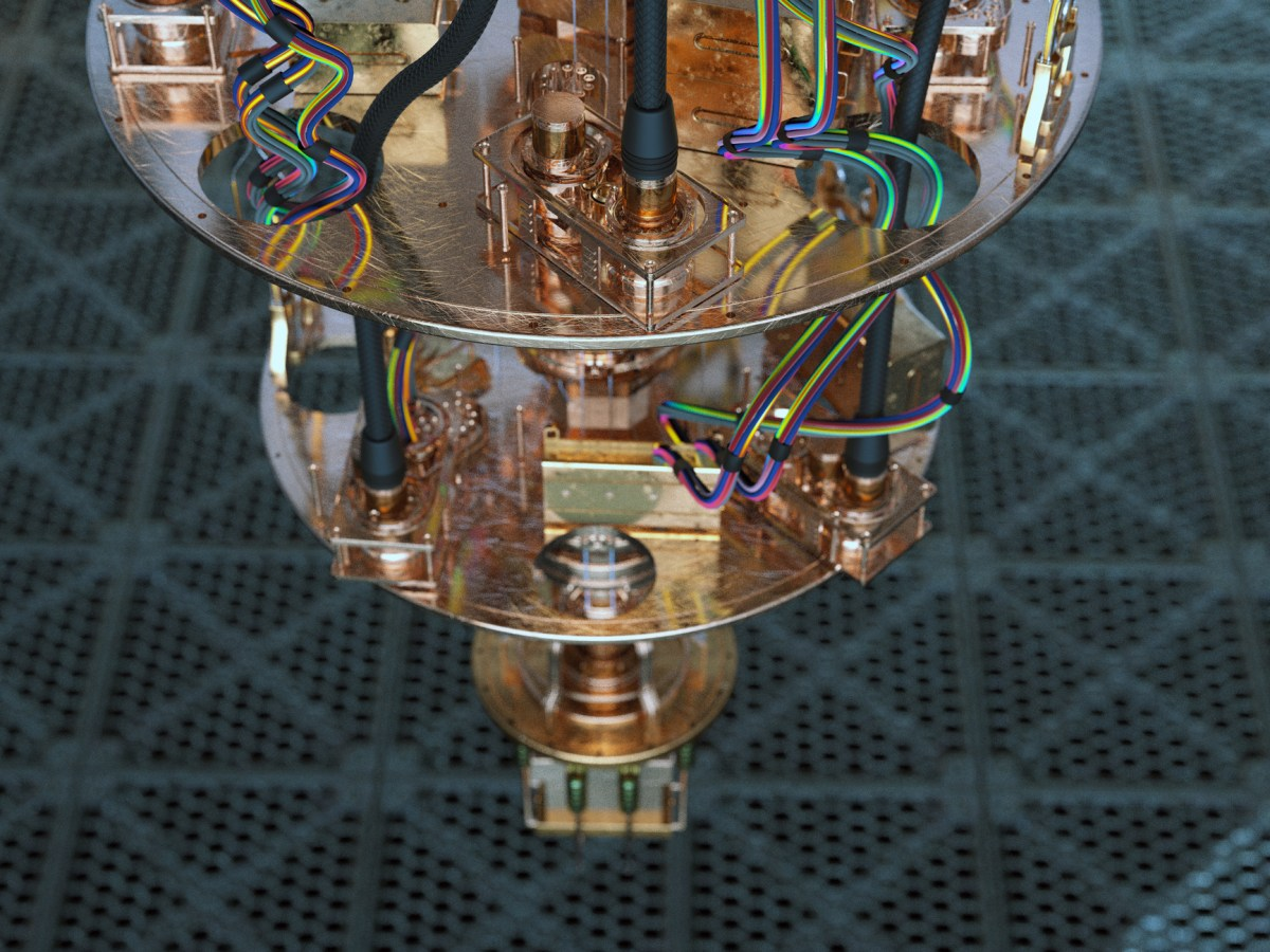 Close view of a quantum computer.