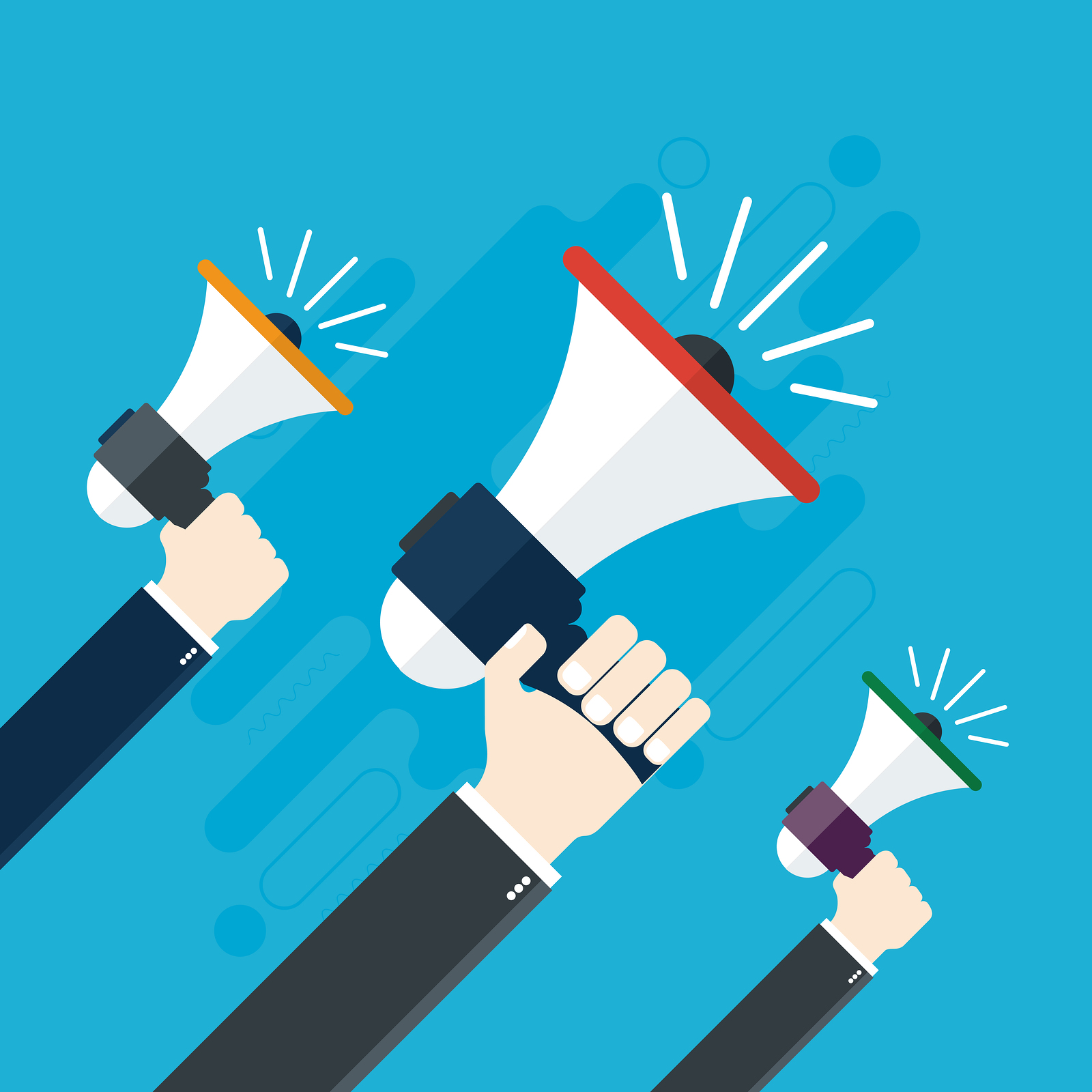 call to action clip art of people holding megaphones