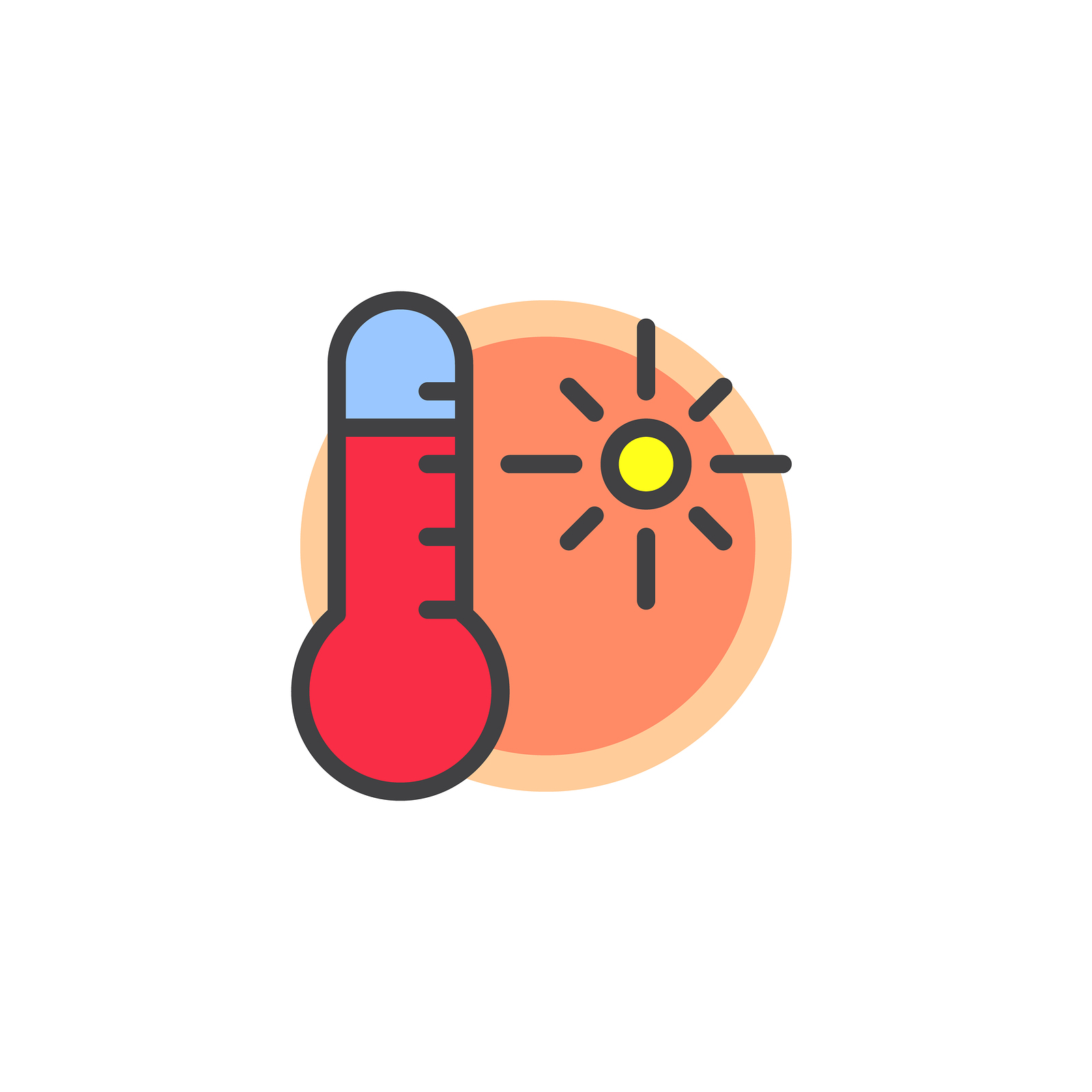 thermometer reading warm weather and hot temperatures