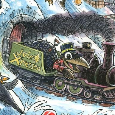 Uddrag fra julemærket 2017. Juleekspressen ankommer til Nissegården - Excerpt from the Christmas stamp Sheet 2017. The X-mas express arrives.