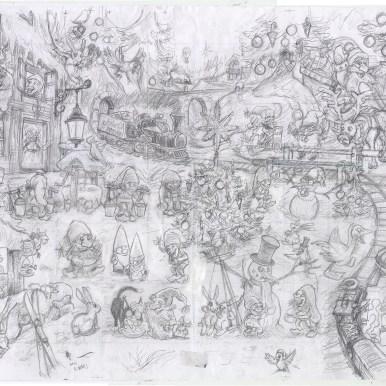 Blyantskitse af hele Julearket - Pencil sketch of the whole sheet