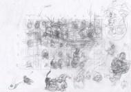 Råskitse af hele arket - Raw sketch of the whole sheet