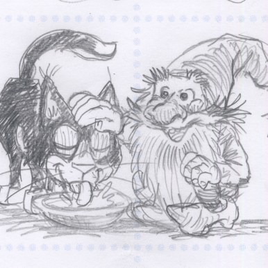 Arbejdsskitse af Katten og nissen - Study sketch of the Cat and the Elf