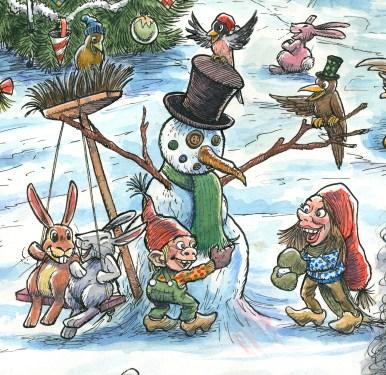 Uddrag fra julemærket 2017. Nisserne bygger en snemand - Excerpt from the Christmas stamp Sheet 2017. A snowman build by pixie children