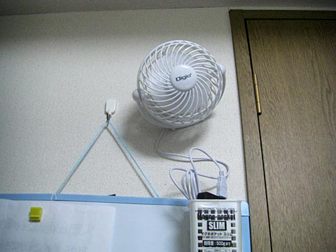 USB扇風機の設置例