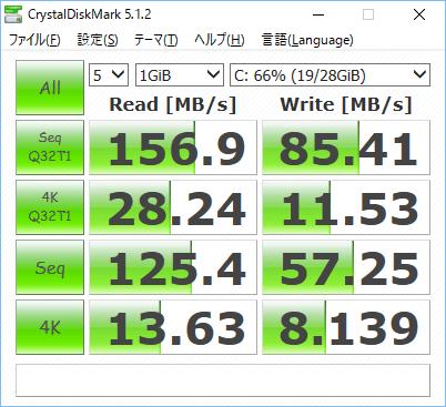 内蔵eMMCのスピードは、まぁこんなもんかなw